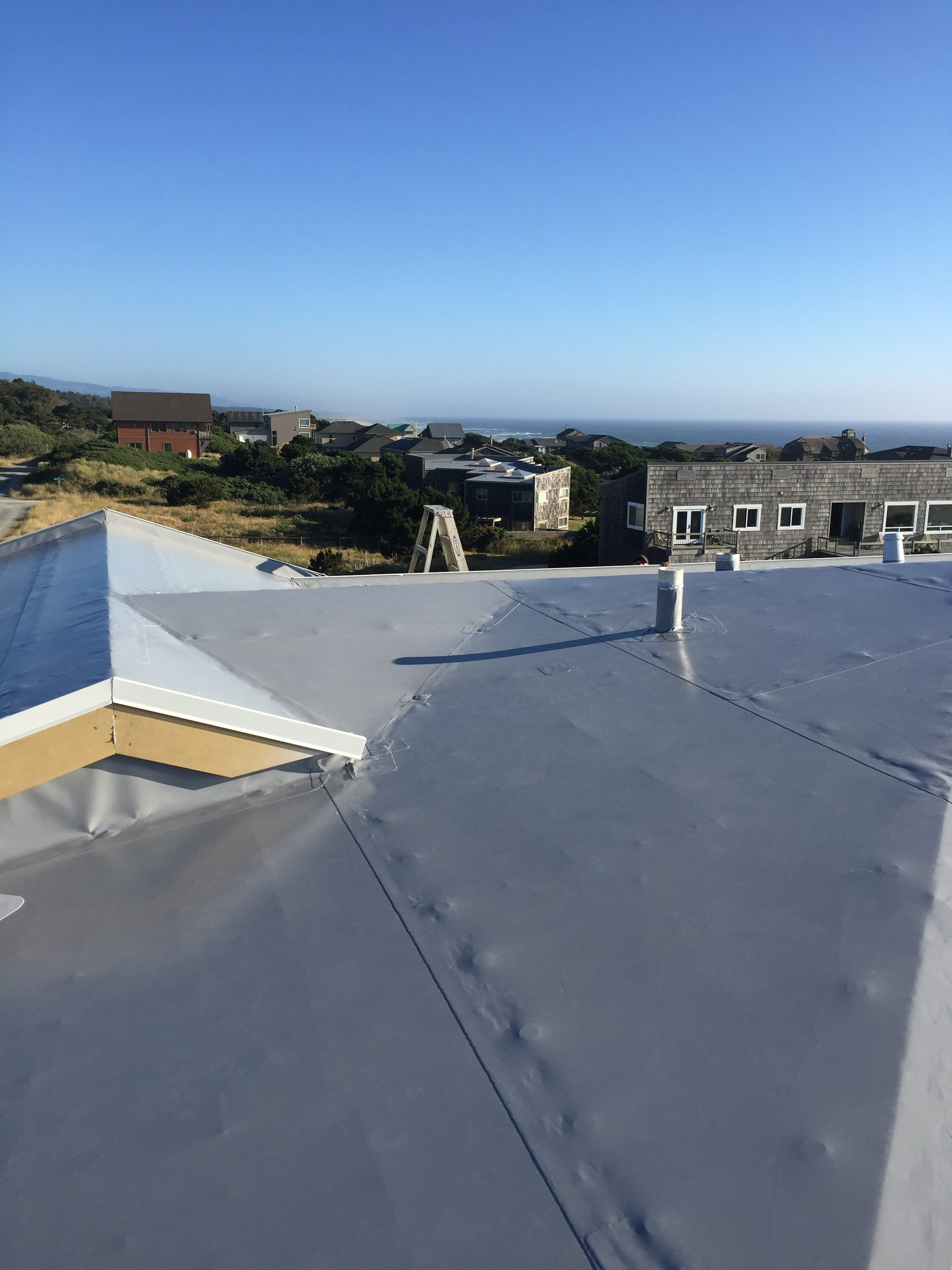 Residential Membrane Roofing Project Oregon Coast Flat